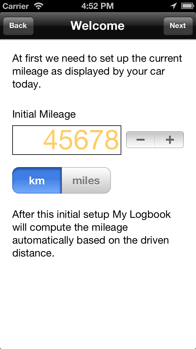 Weclome Screen 2: Setup initial mileage